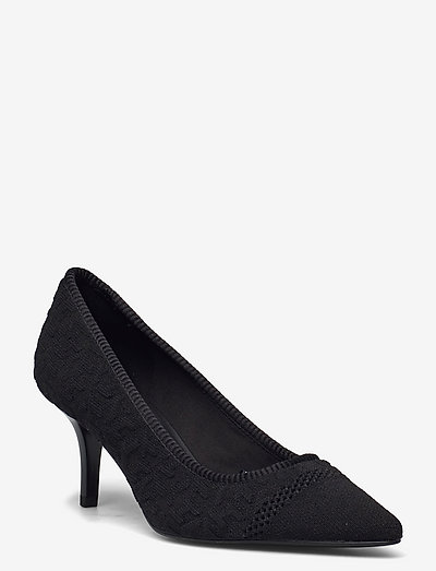 TH KNITTED MID HEEL PUMP - classic pumps - black