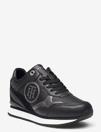 METALLIC DRESSY WEDGE SNEAKER - low top sneakers - black