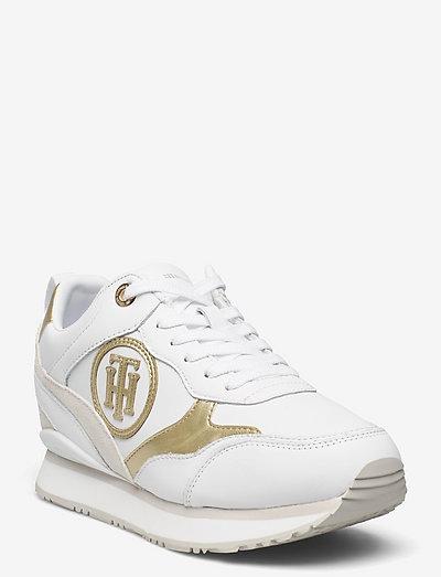 METALLIC DRESSY WEDGE SNEAKER - low top sneakers - white