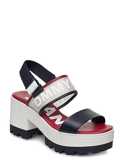 Pop Color Mid Heel Sandal Sandale Mit Absatz Blau TOMMY HILFIGER