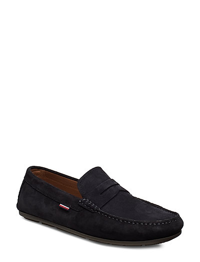 Classic Suede Penny Loafer Loafers Flache Schuhe Blau TOMMY HILFIGER