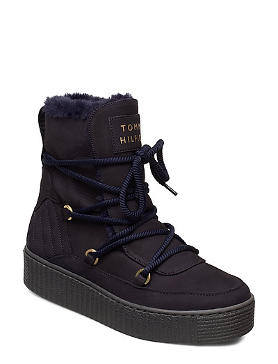 Cosy Bootie Shoes Boots Ankle Boots Ankle Boots Flat Heel Schwarz TOMMY HILFIGER