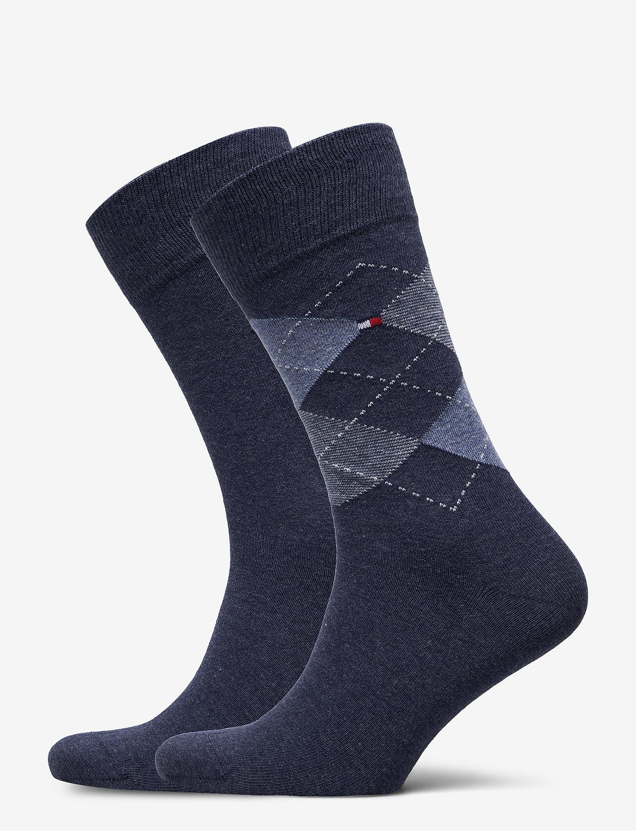 Tommy Hilfiger - TH MEN SOCK CHECK 2P - vanliga strumpor - jeans - 0