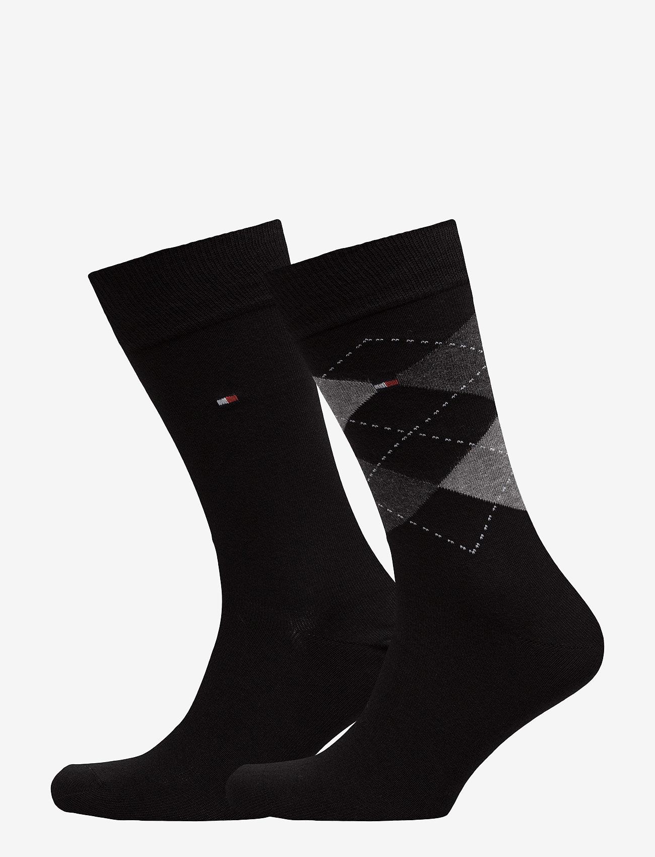 Tommy Hilfiger - TH Men sock check 2-pack - tavalliset sukat - black - 0