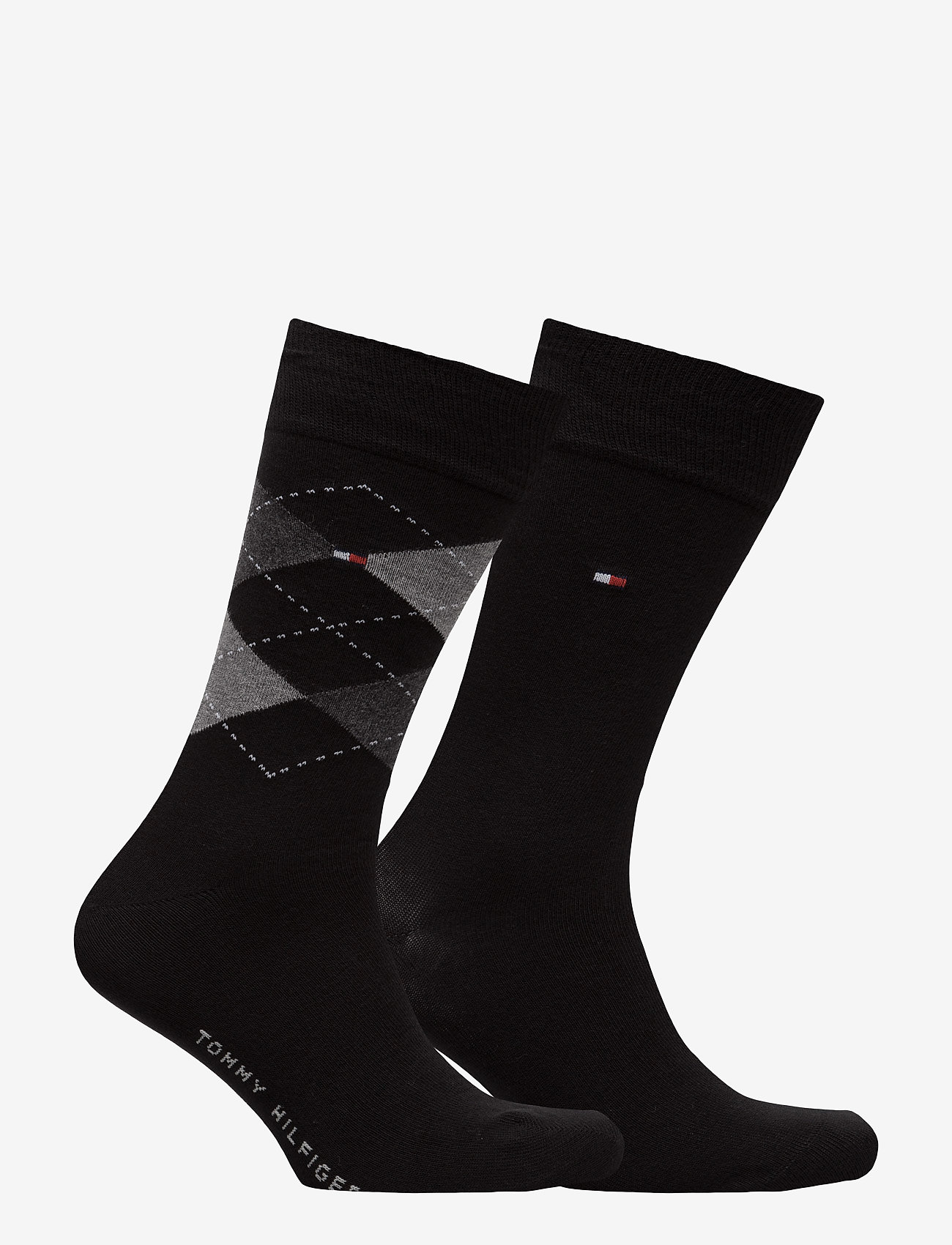 Tommy Hilfiger - TH Men sock check 2-pack - tavalliset sukat - black - 1