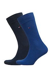 SOCKS 2-PAIRS - WHITE / BLUE / RED