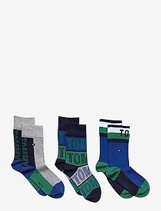TH KIDS SOCK 3P TOMMY GIFTBOX - sukat - forever blue