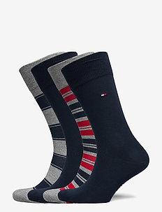 TH MEN SOCK 4P STRIPE TIN GIFTBOX - tavalliset sukat - tommy original
