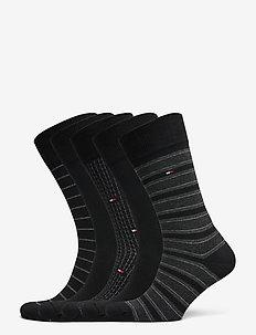 TH MEN SOCK 5P FINE STRIPE TIN GIFT - vanlige sokker - black