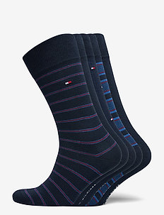 TH MEN SOCK 5P FINE STRIPE TIN GIFT - reguläre strümpfe - dark navy