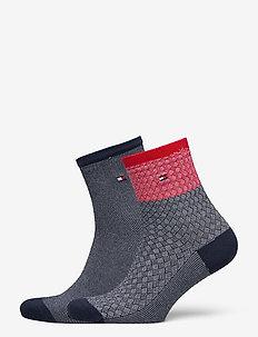 TH WOMEN SHORT SOCK 2P REFINED ARGY - sokker - navy / red