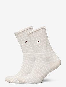 TH WOMEN SOCK 2P SMALL STRIPE - sokker - light beige melange