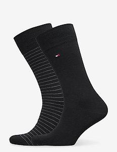 TH MEN SMALL STRIPE SOCK 2P - vanliga strumpor - black
