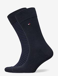 TH MEN SMALL STRIPE SOCK 2P - vanliga strumpor - tommy blue