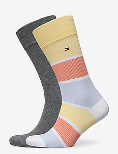 TH MEN SOCK 2P RIB COLOR BLOCK - tavalliset sukat - yellow