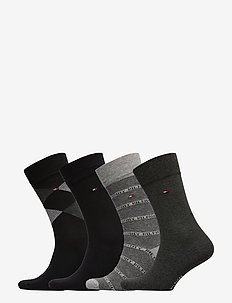 TH MEN SOCK 4P GIFTBOX ARGYLE - vanlige sokker - black