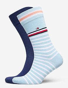 TH MEN SOCK 2P COLLEGIATE STRIPE - vanlige sokker - light blue