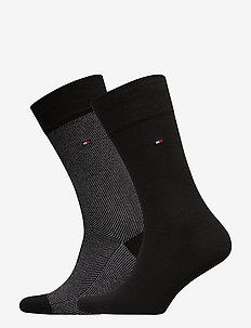 TH MEN SOCK 2P MICRO STRIPE - vanlige sokker - black