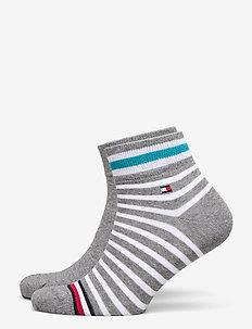 TH MEN QUARTER 2P COLLEGIATE STRIPE - tavalliset sukat - mid grey melange