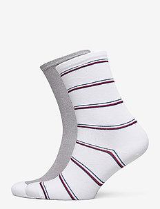 TH WOMEN SOCK 2P LUREX STRIPE - strumpor - white