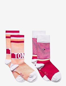 TH KIDS SOCK 2P FINE STRIPE - sokker - pink lady