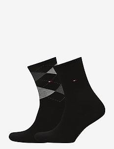 TH WOMEN CHECK SOCK 2P - sokker - black
