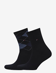 TH WOMEN CHECK SOCK 2P - sokker - tommy blue