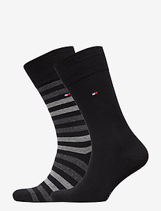 TH MEN DUO STRIPE SOCK 2P - BLACK
