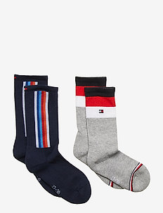 TH KIDS SOCK 2P LOGO STRIPE - NAVY / GREY