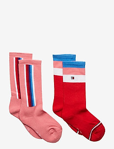 TH KIDS SOCK 2P LOGO STRIPE - PINK / RED