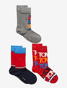 TH KIDS SOCK 3P GIFTBOX - RED / BLUE