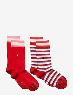 TH KIDS SOCK 2P LUREX STRIPE - PINK / RED