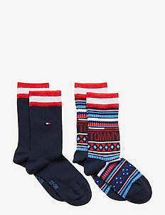 TH KIDS SOCK 2P MULTI COLOR - RED / BLUE