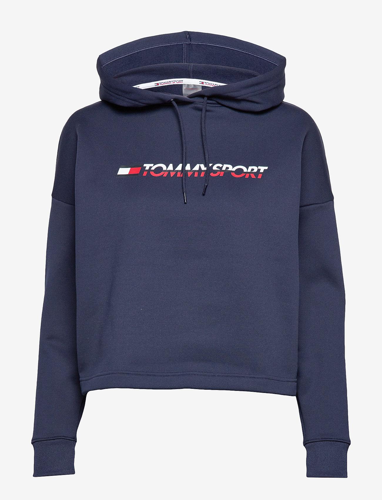 Tommy Sport - CROPPED FLEECE HOODY - hoodies - black iris - 0