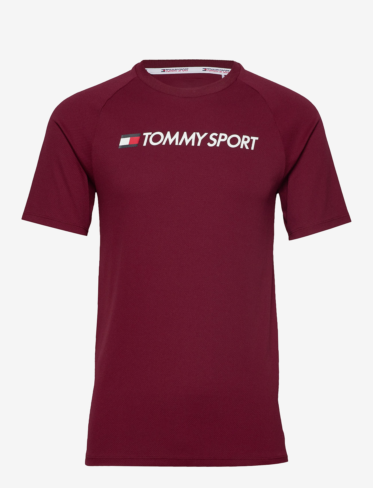Tommy Sport - TRAINING TOP MESH LOGO - t-shirts - deep rouge - 0