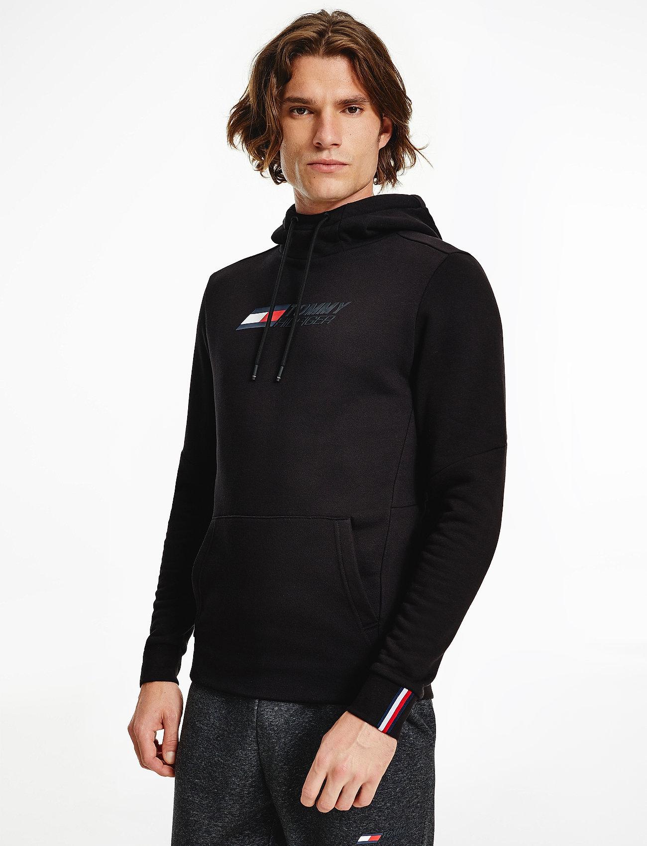 Tommy Sport - LOGO FLEECE HOODY - hoodies - black - 0