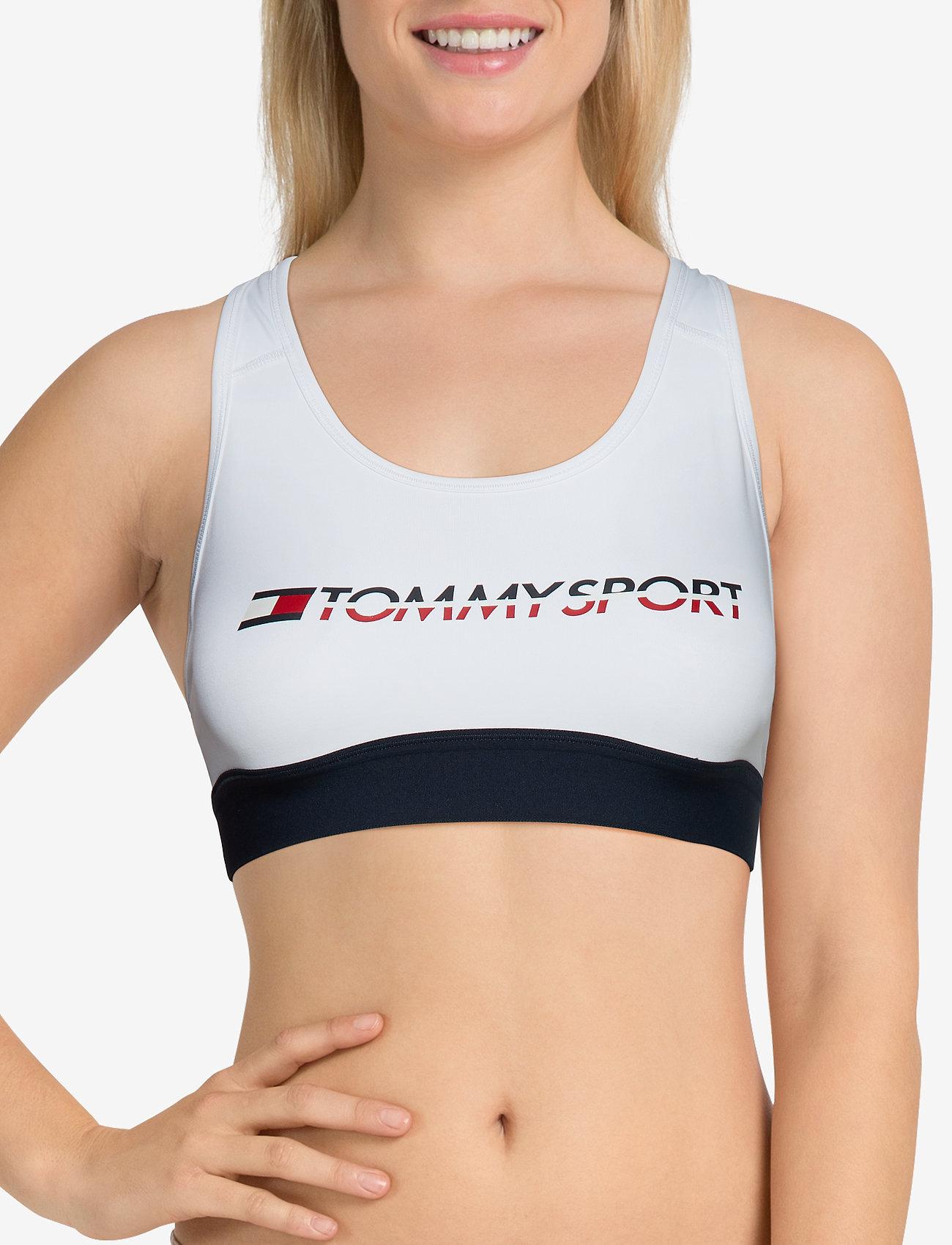 Tommy Sport SPORTS BRA MEDIUM TRI LOGO - PVH WHITE