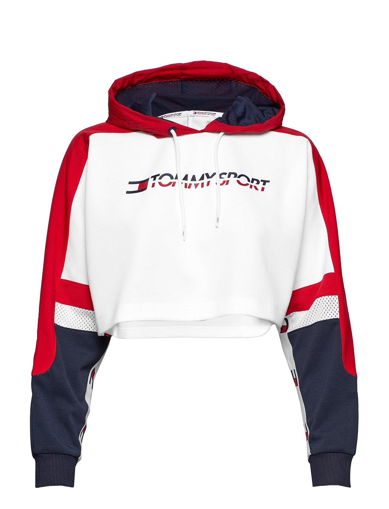 Tommy Sport FLAG TAPE CROP HOODY - TRUE RED