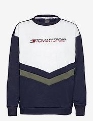 Tommy Sport - BLOCKED TERRY CREW LOGO - svetarit - sport navy - 0
