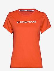 Tommy Sport - PERFORMANCE CHEST LOGO TOP - logo t-shirts - bright vermillion - 0