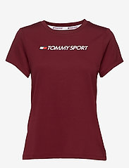 Tommy Sport - PERFORMANCE CHEST LOGO TOP - logo t-shirts - deep rouge - 0