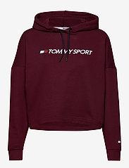 Tommy Sport - CROPPED HOODY LOGO - hoodies - deep rouge - 0