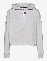Tommy Sport - CROPPED HOODY FLAG LOGO - hoodies - ice heather - 0