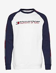 Tommy Sport - FLEECE TAPE CREW - longsleeved tops - pvh white - 0