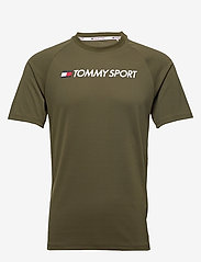 Tommy Sport - TRAINING TOP MESH LOGO - t-shirts - army green - 0
