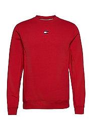 BLOCKED FLEECE CREW - PRIMARY RED