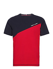 BLOCKED TEE - PRIMARY RED