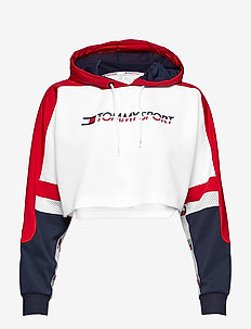 FLAG TAPE CROP HOODY - TRUE RED