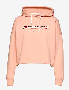 CROPPED FLEECE HOODY - DUSTY PINK