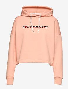 CROPPED FLEECE HOODY - hoodies - dusty pink